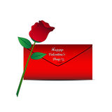 Red rose and red envelope Stock Images