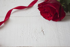 Red rose with red ribbon on white wood. Close up on Red rose with red ribbon on white wood stock photos