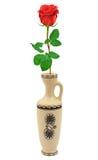 Red rose in retro vase Royalty Free Stock Image