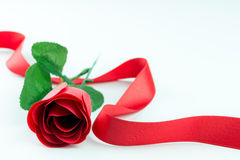 Red rose and ribbon Royalty Free Stock Photos