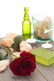 Red rose and rock salt Stock Photo