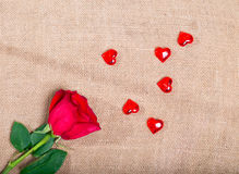 Red rose on a sacking and randomly the scattered glass hearts Royalty Free Stock Images