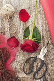 Red rose and scissors Stock Photo
