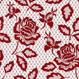 Red rose seamless lace pattern with rose on transparent background. Red rose seamless lace pattern with rose. Red floral lace pattern vector illustration