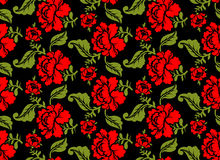 Red Rose seamless pattern. Floral texture. Russian folk ornament Royalty Free Stock Image