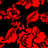 Red Rose seamless pattern. Floral texture. Russian folk ornament Stock Image