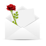 Red rose and sheet of paper in an envelope Royalty Free Stock Photography