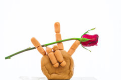 Red rose in sign language Stock Photo