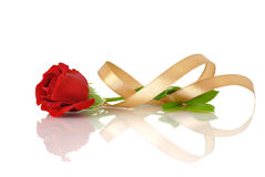 Red rose with silk ribbon Royalty Free Stock Photos