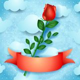Red rose on sky background Stock Photography
