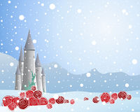 Red rose and snow Royalty Free Stock Photos