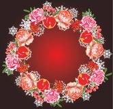 Red rose and snowflake ring Stock Photography