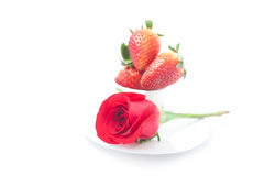 Red rose , strawberry and cup isolated on white Stock Images