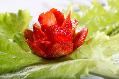 Red rose from strawberry on a green lettuce leaf. Close up, handwork, small depth of sharpness Royalty Free Stock Images