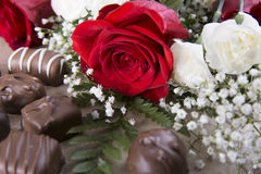 A Red Rose and Sweets Royalty Free Stock Image