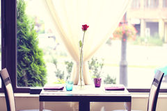Red rose on table in a restaurant Stock Photos