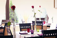 Red rose on table in a restaurant Stock Photo