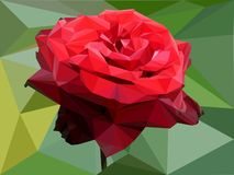 Red rose from triangles vector illustration