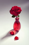 Red rose with two hearts, toned image Stock Photo