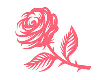 Red rose - vector illustration, emblem on white background Stock Photo