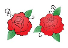 Red rose vector illustration. vintage flower style on white background for valentines day card, fabric, wedding card, printing. Banner, greeting card, website vector illustration