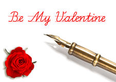 Red rose and vintage ink pen isolated on white Royalty Free Stock Photo