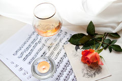 Red rose and Vivaldi Stock Photo