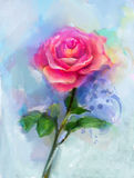 Red rose watercolor painting Stock Photography