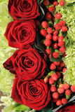 Red rose wedding arrangement Stock Photo