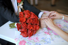Red Rose Wedding Bouquet Royalty Free Stock Photos