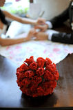 Red Rose Wedding Bouquet Royalty Free Stock Photography
