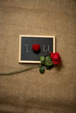 Red rose and wedding ring lying on declaration of love Royalty Free Stock Images