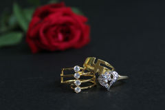 Red rose with wedding rings  on black background. Bride and Groom rings Stock Photography