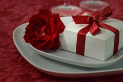 A red rose with a white box with a red ribbon Stock Photography