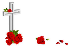 Red rose and white christian cross Royalty Free Stock Images