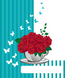 Red rose in a white cup. Happy birthday card Stock Photo