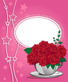 Red rose in a white cup. Happy birthday card Stock Photography