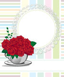 Red rose in a white cup. Happy birthday Stock Image