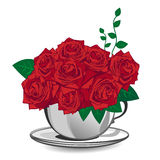 Red rose in a white cup Royalty Free Stock Photo