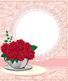 Red rose in a white cup. Wedding invitations Royalty Free Stock Photos