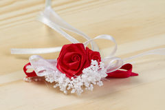 Red rose with white decoration Royalty Free Stock Image