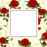 Red Rose and White Lily Flower Christmas Beige Ivory Banner Card. Vector Illustration.  stock illustration