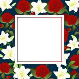 Red Rose and White Lily Flower Christmas Beige Ivory Banner Card. Vector IllustrationRed Rose and White Lily Flower Christmas. Red Rose and White Lily Flower royalty free illustration