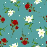 Red Rose and White Lily Flower Christmas Green Teal Background. Vector Illustration.  stock illustration