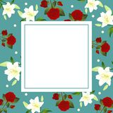 Red Rose and White Lily Flower Christmas Green Teal Banner Card. Vector Illustration.  royalty free illustration