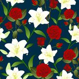 Red Rose and White Lily Flower Seamless Christmas Background. Vector Illustration.  royalty free illustration