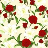 Red Rose and White Lily Flower Seamless Christmas Beige Ivory Background. Vector Illustration.  royalty free illustration