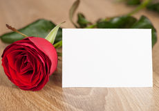 Red rose and blank sheet on wood Stock Image