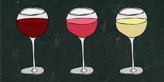 Red, Rose and White Vine in a Glass. Black Board Background and Chalk. Hand Drawn Vector Illustration. Savoyar Doodle Style. stock illustration