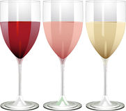 Red, rose and white wine Royalty Free Stock Photo